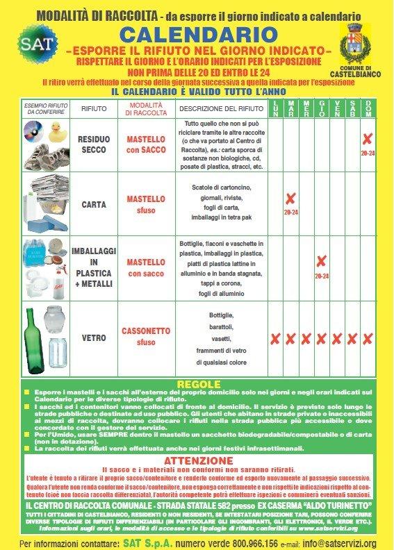 Castelbianco Calendario esposizione rifiuti